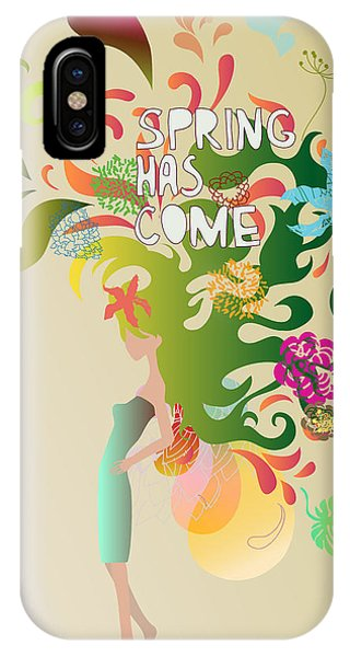 Ornamental iPhone Case - Spring Floral Girl Illustration by Run4it