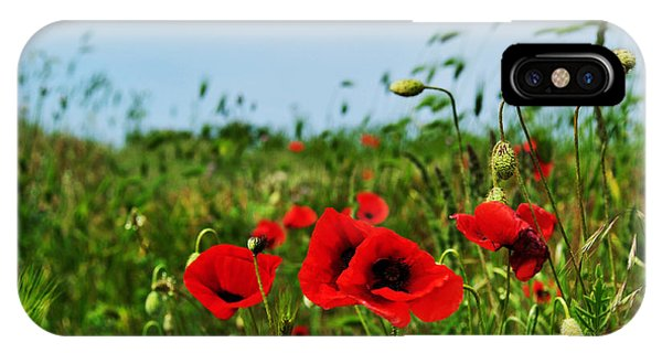 Spring Poppy Field Phone Case by Marina Slusar