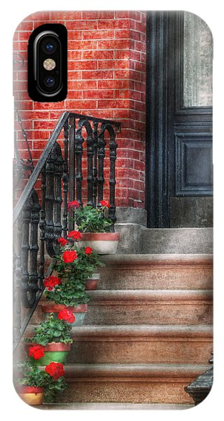 Brownstone iPhone Case - Spring - Porch - Hoboken Nj - Geraniums On Stairs by Mike Savad