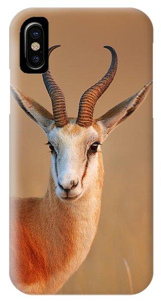 Mammal iPhone Case - Springbok  Portrait by Johan Swanepoel