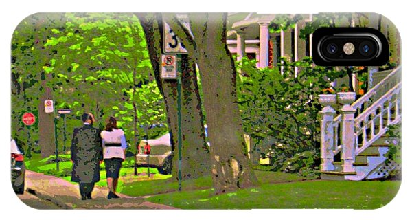 Springtime Stroll Through Beautiful Tree Lined Outremont Montreal Street Scene Art By Carole Spandau IPhone Case