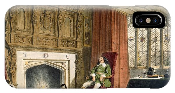 Fireplace iPhone Case - Squire With His Dogs By The Hearth by Joseph Nash
