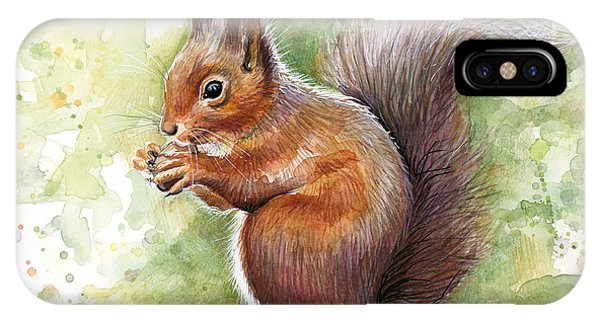 Squirrel iPhone Case - Squirrel Watercolor Art by Olga Shvartsur