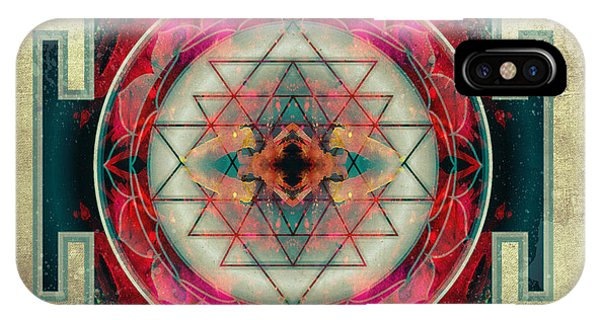 Flower Of Life iPhone Case - Sri Yantra  by Filippo B