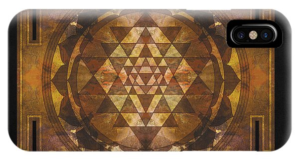Buddhism iPhone Case - Sri Yantra Gold by Filippo B