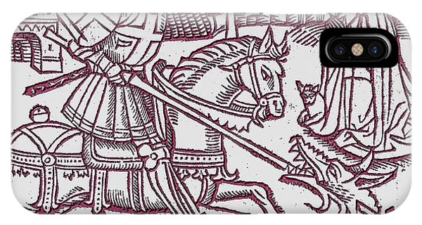 St. George - Woodcut IPhone Case
