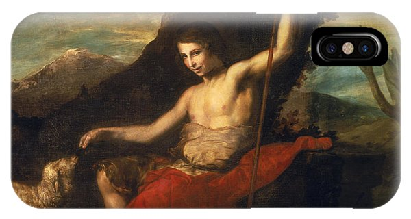 Staff iPhone Case - St. John The Baptist In The Wilderness Oil On Canvas by Jusepe de Ribera