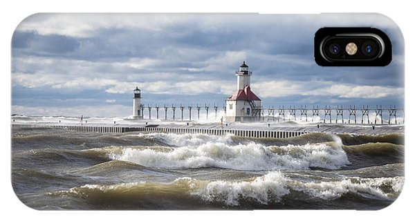 St Joseph Lighthouse On Windy Day IPhone Case