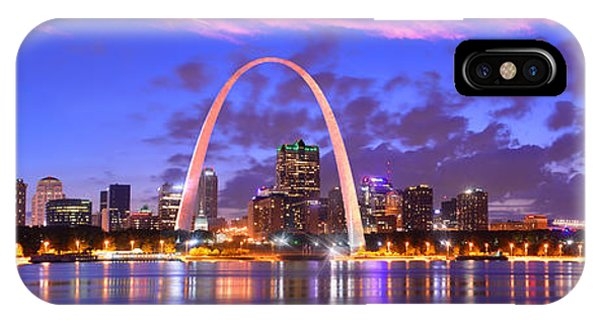 St. Louis Skyline At Dusk Gateway Arch Color Panorama Missouri IPhone Case
