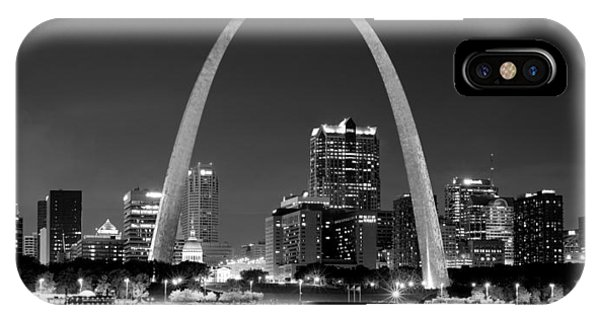 St. Louis Skyline At Night Gateway Arch Black And White Bw Panorama Missouri IPhone Case