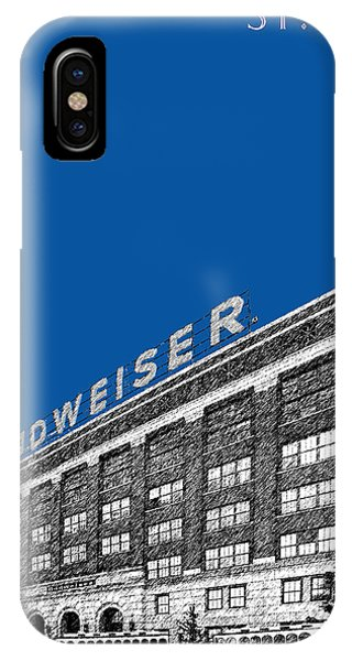 Brewery iPhone Case - St Louis Skyline Budweiser Brewery - Royal Blue by DB Artist