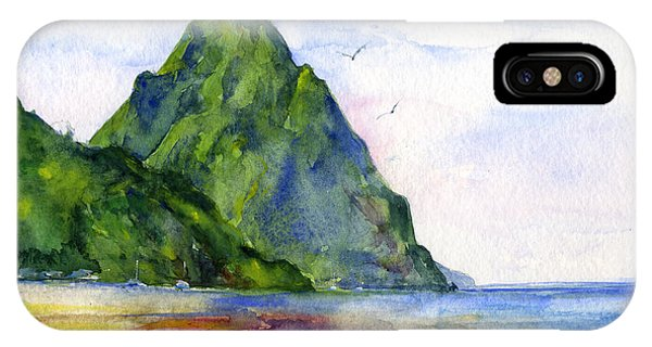 Watercolors iPhone X Case - St. Lucia by John D Benson