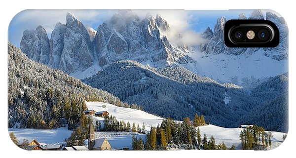 St. Magdalena Village In The Snow In Winter IPhone Case