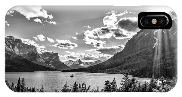St. Mary Lake Bw IPhone Case