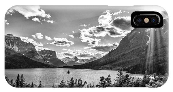 St. Mary Lake Bw IPhone Case