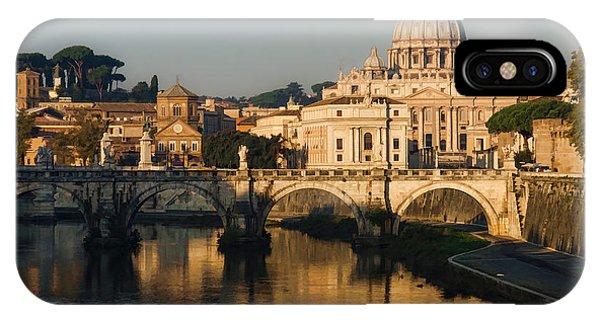 Umbrella Pine iPhone Case - St Peter Morning Glow - Impressions Of Rome by Georgia Mizuleva