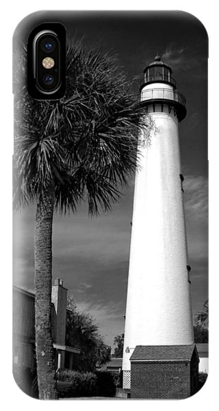 St. Simons Island Georgia Lighthouse In Black And White IPhone Case