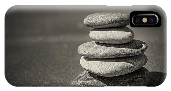 Peaceful iPhone Case - Stacked Pebbles On Beach by Elena Elisseeva