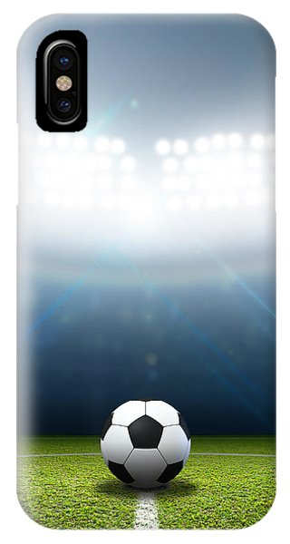 White Background iPhone Case - Stadium And Soccer Ball by Allan Swart