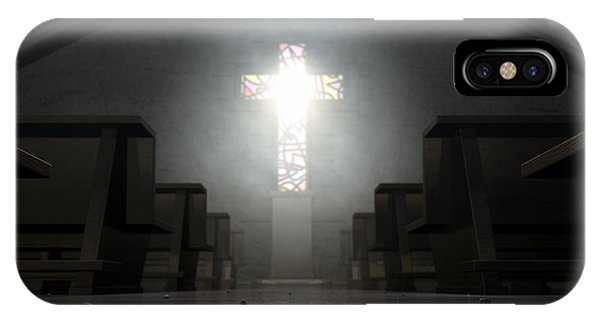 Beam iPhone Case - Stained Glass Window Crucifix Church by Allan Swart