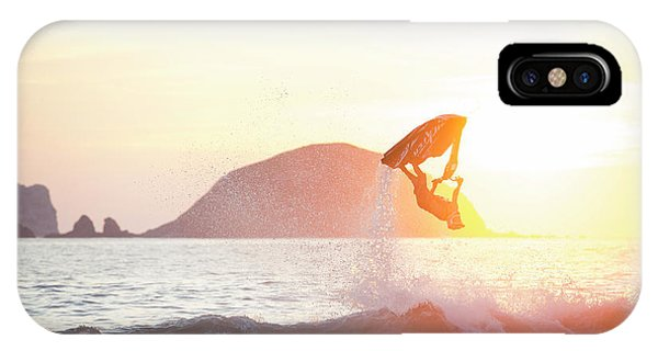 Jet Ski iPhone Case - Stand Up Jet Ski Backflip At Sunset by Marcos Ferro