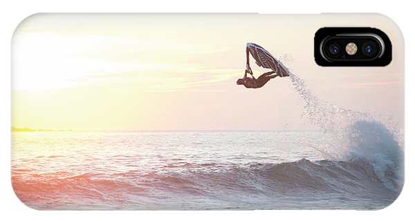 Jet Ski iPhone Case - Stand Up Jet Ski Barrel Roll At Sunset by Marcos Ferro