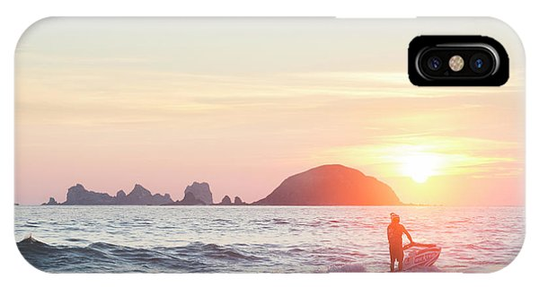 Jet Ski iPhone Case - Stand Up Jet Ski Rider At Sunset by Marcos Ferro