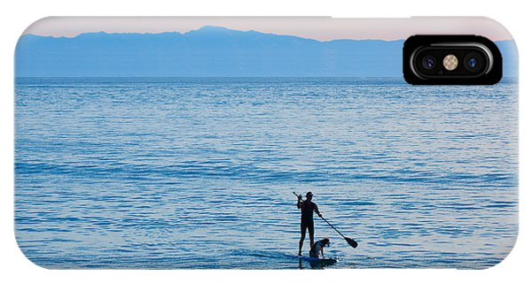 Stand Up Paddle Surfing In Santa Barbara Bay California IPhone Case