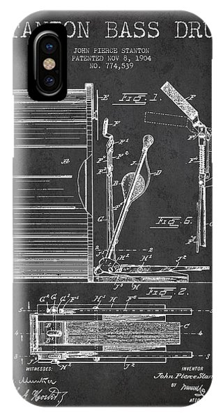 Drum iPhone Case - Stanton Bass Drum Patent Drawing From 1904 - Dark by Aged Pixel