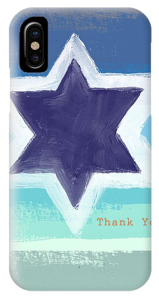 Bar Mitzvah iPhone Case - Star Of David In Blue - Thank You Card by Linda Woods