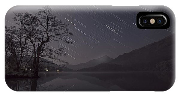 Star Trails Over Lake IPhone Case