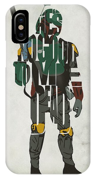 Star Wars Inspired Boba Fett Typography Artwork IPhone Case