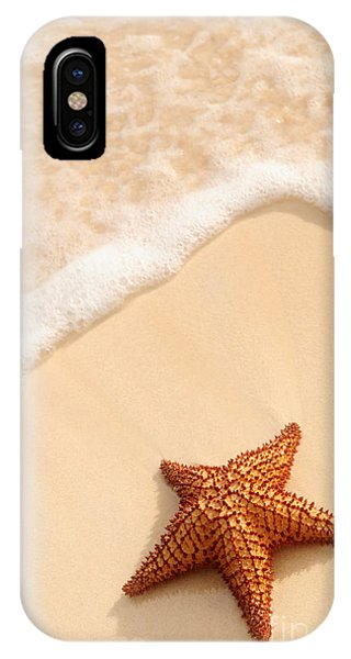 Sand iPhone Case - Starfish And Ocean Wave by Elena Elisseeva