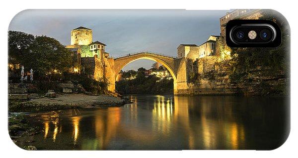 Mostar iPhone Case - Stari Most By Night  by Rob Hawkins