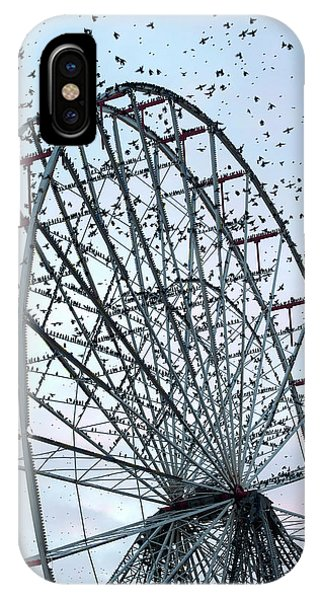 Starlings iPhone Case - Starling Flock On Blackpool Ferris Wheel by Simon Booth