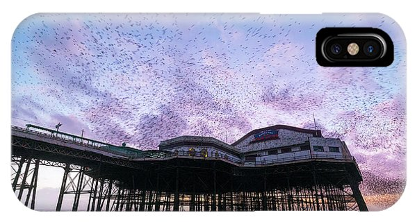 Starlings iPhone Case - Starling Flock Over Blackpool North Pier by Simon Booth