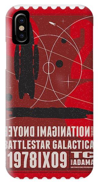 Nasa iPhone Case - Starschips 02-poststamp - Battlestar Galactica by Chungkong Art