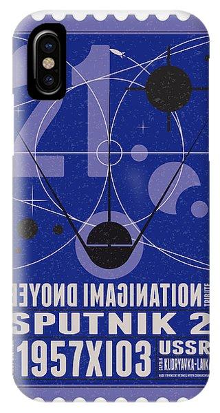 Nasa iPhone Case - Starschips 21- Poststamp - Sputnik 2 by Chungkong Art
