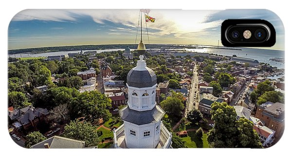 Naval Academy iPhone Case - State House Beauty Over Annapolis by Mid Atlantic Aerial