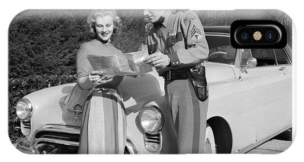 State Patrolman Assists Young Woman Traveler 1951 IPhone Case
