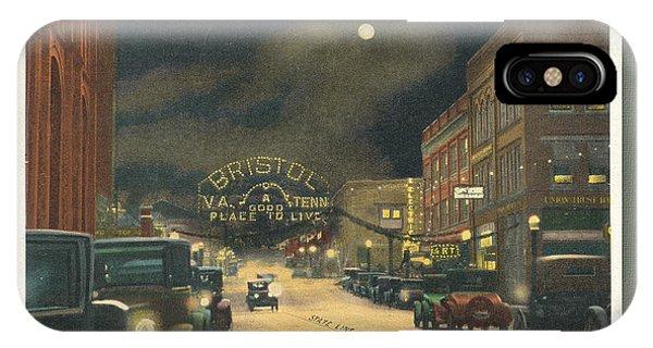 State Street Bristol Va Tn At Night IPhone Case