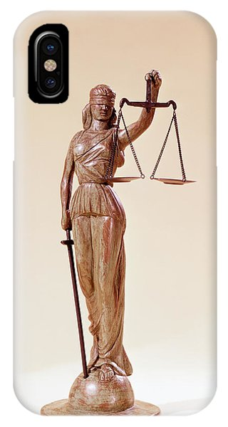 Fairness iPhone Case - Statue Of Blindfolded Lady Justice by Vintage Images