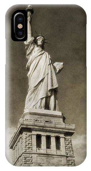 Battery D iPhone Case - Statue Of Liberty Sepia by Dan Sproul