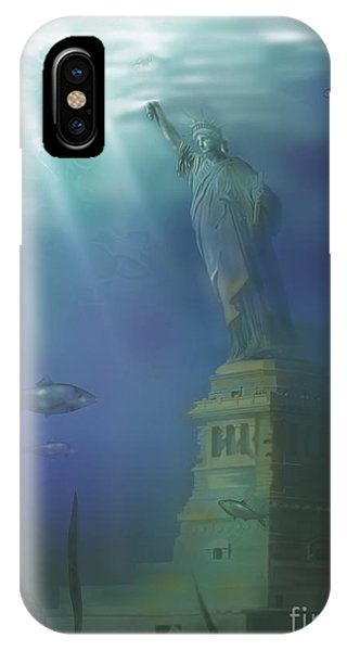 Drown iPhone Case - Statue Of Liberty Under Water by Gwen Shockey