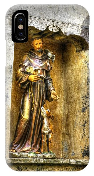 Statue Of Saint Francis Of Assisi - Alcove In The Gardens Of The Carmel Mission IPhone Case