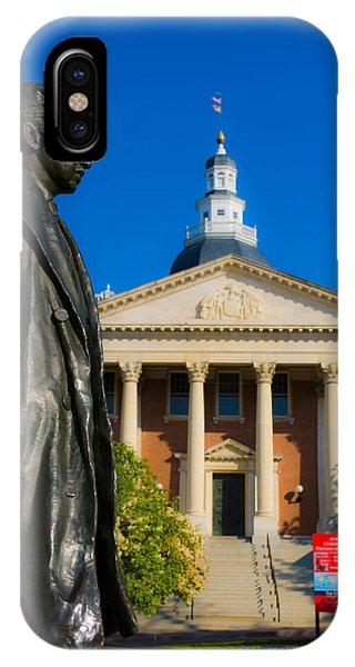 Capitol Building iPhone Case - Statue With A State Capitol Building by Panoramic Images