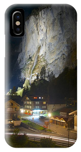 Staubbach Falls At Night In Lauterbrunnen Switzerland IPhone Case