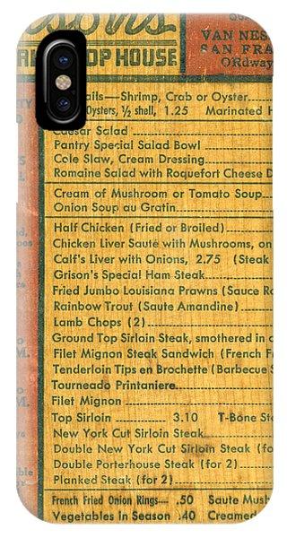 Menu iPhone Case - Steak House Wooden Menu by Underwood Archives