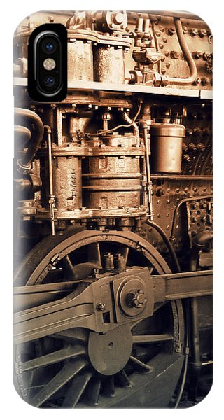 Steam Locomotive Train Detail Sepia IPhone Case