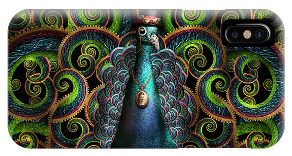 Peafowl iPhone Case - Steampunk - Pretty As A Peacock by Mike Savad